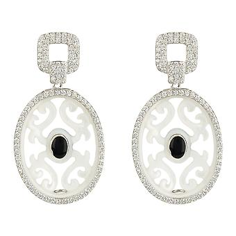 Carved Oval Round Mother Pearl Gemstone Drop Earring Sterling Silver Black Onyx