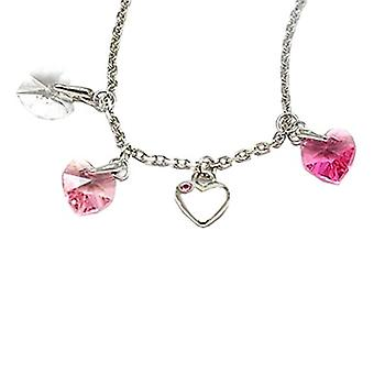 Ellugo Crystal Heart Charm Necklace made with Swarovski crystals