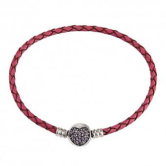 Woven Leather Charm Bracelet With Zirconia Heart Clip - 4327