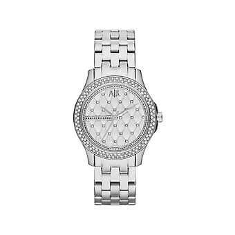 Armani Exchange Ladies Lady Hampton Round Silver Dial With A Stone Bezel AX5215