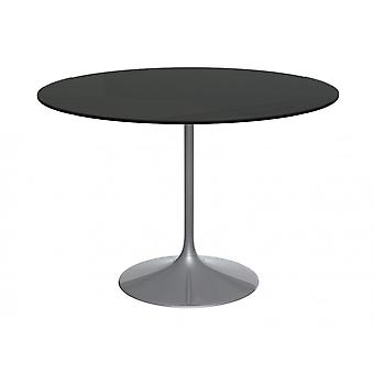 Gillmore Pedestal Large Dining Table Black Glass And Smoked Chrome