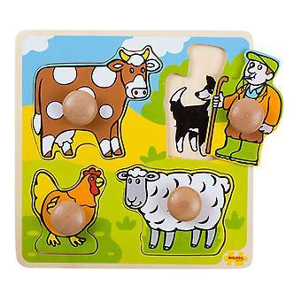 Bigjigs dřevěný můj první PEG puzzle-farma