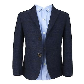 Kids Navy Blue Tweed with Brown Check 4 Piece Suit by Couche Tot