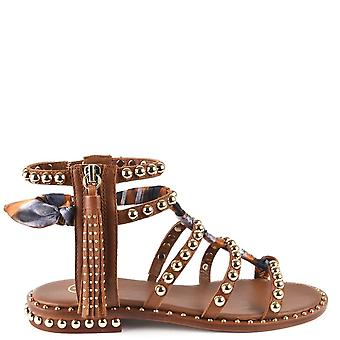 Ash PAREO Studded Sandals In Brown Leather & Silk