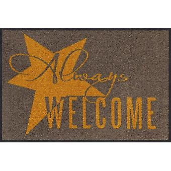 Salonloewe doormat Always Welcome gold 50 x 75 cm washable