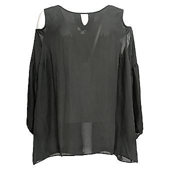 Laurie Felt Women's Plus Top Cut Out Cold Shoulder Blouse Black A295701