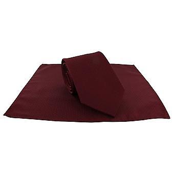 Michelsons di Londra Semi pianura legare e tasca quadrata Set - rosso scuro