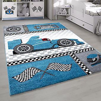 Shortflor kinderkleed Formule 1 raceauto kinderkamer tapijt versch. Kleuren
