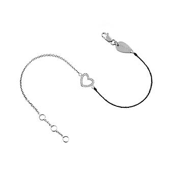 Bracelet Heart 18K Gold and Diamonds, on Half Thread Half Chain - White Gold, Black