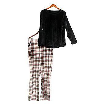 Cuddl Duds Women's Petite Pajama Set Ultra Plush Velvet Fleece Black A342096