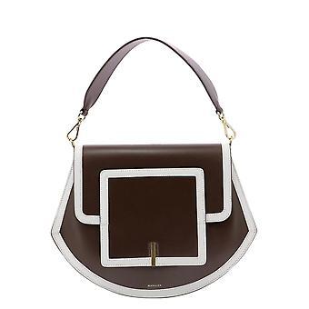 Wandler Alcalfleatherfudgewhiteframe Women-apos;s Brown Leather Shoulder Bag