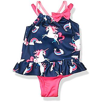 Wippette Baby Girl's UNICORN One Piece SWIMSUIT Swimwear, NAVY, 12M