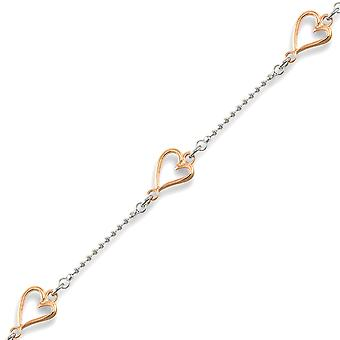 Jewelco London Rhodium Coated Sterling Silver Heart Necklace