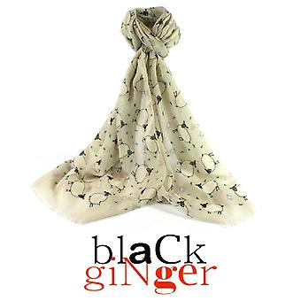"""Black Ginger"" Cream Scarf with Sheep Print Design"