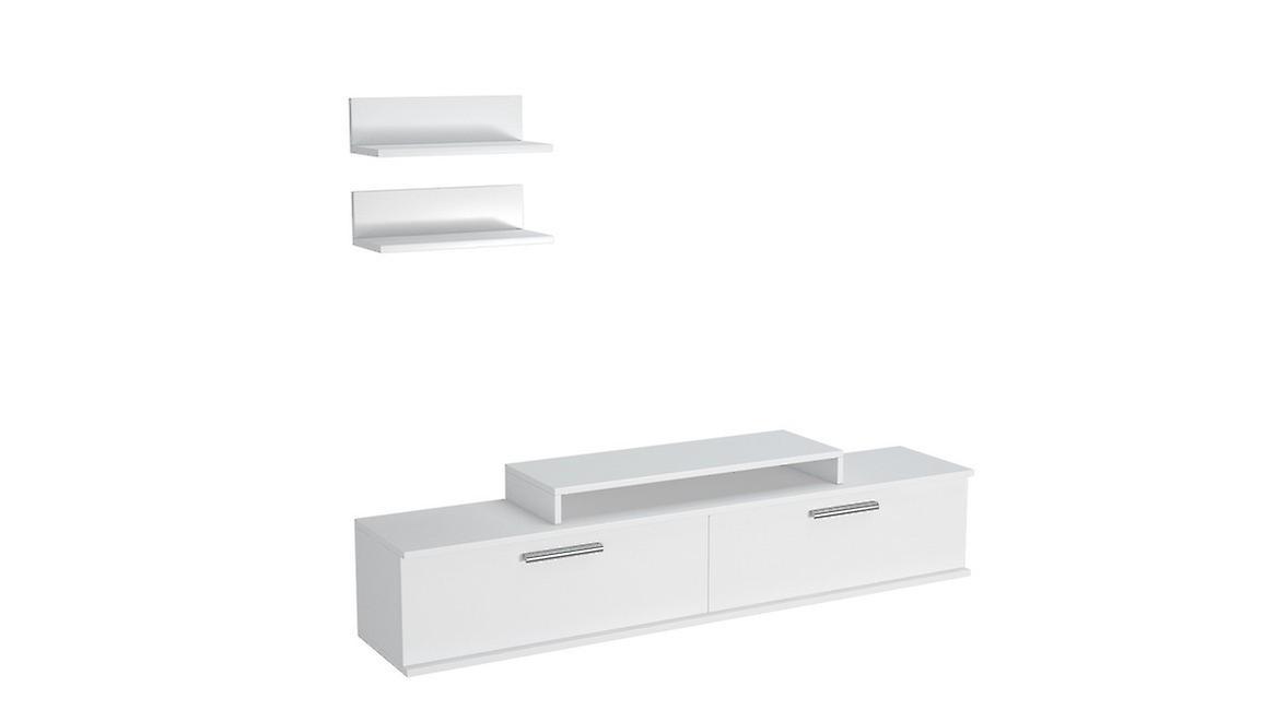 Mobile Porta TV Orione Color Bianco in Truciolare Melaminico 150x30x39,5 cm, 40x17x10 cm