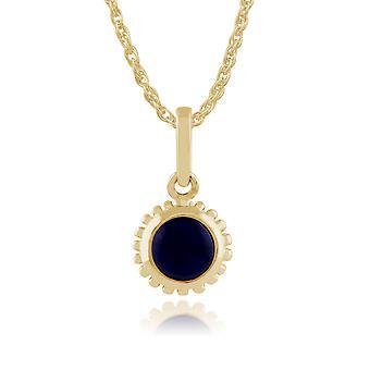 Classic Round Lapis Lazuli Pendant Necklace in 9ct Yellow Gold 135P1549029