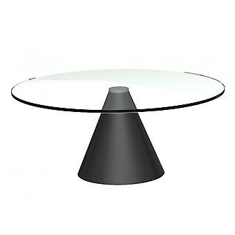 Gillmore pyöreä kirkas lasi sohvapöytä kartiomainen musta pohja