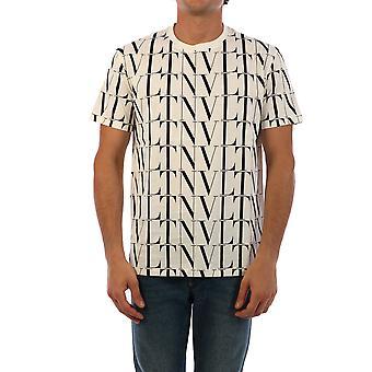 Valentino Uv3mg08j6pea01 Hombres's Camiseta de Algodón Blanco/Negro