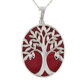 ADEN 925 Sterling Silver Coral Tree of Life Oval Shape Pendant Necklace (id 4169)
