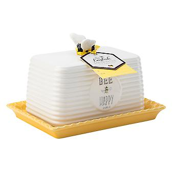 English Tableware Bee Happy Butter Dish