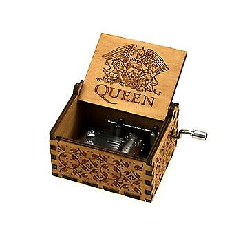 Queen Engraved, 18 Tones-hand Crank Wooden Music Box