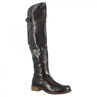 Leonardo Shoes Women's handmade knee high boots in black calf leather with side zip