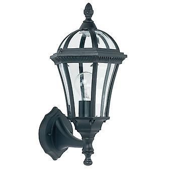 Endon Drayton - 1 Lumière Extérieure Mur Lantern Clear Glass, Peinture noire IP44, E27