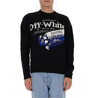 Off-white Omhe054f20kni0011 Men's Black Wool Sweater
