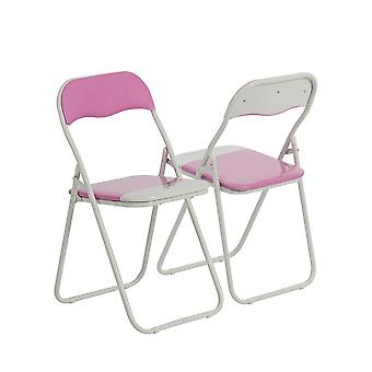 Pink / White Padded, Folding, Desk Chair - Pack of 2