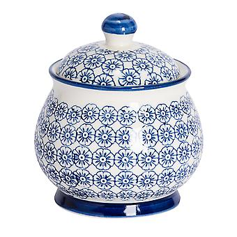Nicola Spring Hand-Printed Sugar Bowl with Lid - Japanese Style Porcelain Kitchen Storage Pot - Navy - 10.5 x 12.5cm