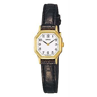 Lorus Damen schwarz Leder Armband Kleid Uhr mit sechseckigen Gold Fall (RPG40BX8)