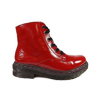 リーカーパリ76240-35赤い特許の女性は分厚い足首のブーツをレースアップ