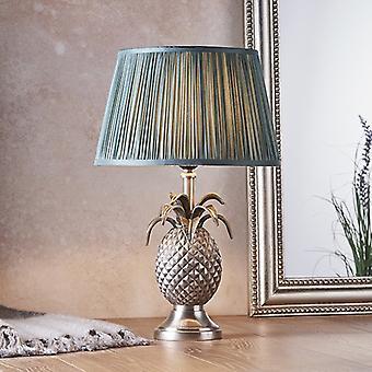 Endon Beleuchtung Ananas & Freya - Tischlampe Zinn Platte & Tannenseide 1 Licht IP20 - E27
