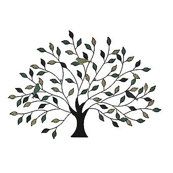 36 inch Tri Tone Leaves Birds In Branches Metal Tree Indoor Outdoor Wall Decor