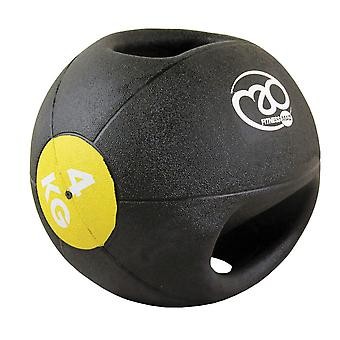 fitness mad 4kg double grip medicine ball yellow strength training exercise ball