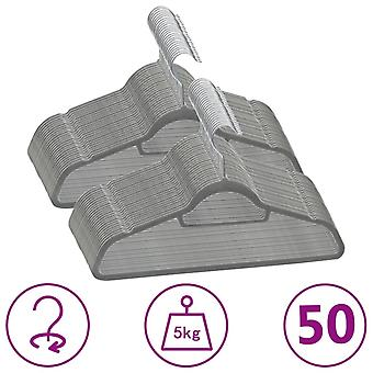 vidaXL 50 pcs. hanger set anti-slip grey velvet