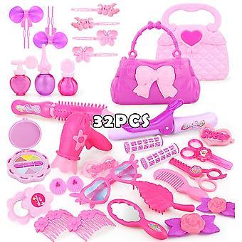 32PCS teeskentele pelata lapsi muodostavat leluja vaaleanpunainen meikki asettaa prinsessa kampaamo simulaatio muovi lelu tytöille pukeutua kosmetiikka