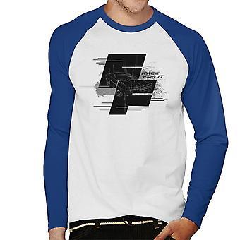 Nopea ja raivoisa Dodge Charger Race For It Montage Men's Baseball Pitkähihainen T-paita