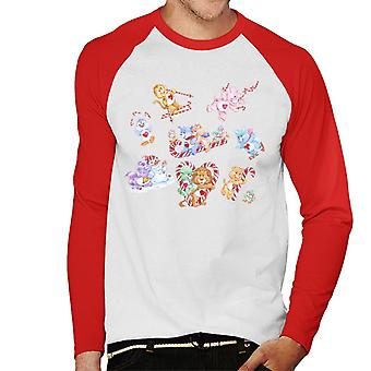 Care Bears Christmas Candy Cane Montage Men's Baseball Pitkähihainen T-paita
