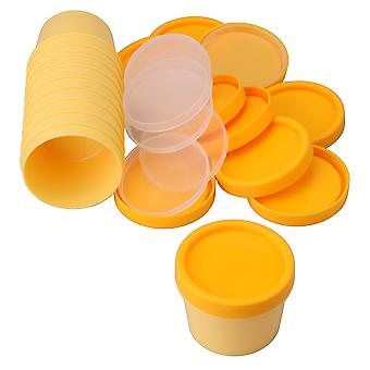 10 x Cosmetic Bottle Containers 100 Gram with Inner Pads and Lids Yellow