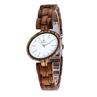 REDEAR SJ1680 Lättvikts kvinnor klockor Wood Band Kvarts Wrist Watch