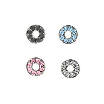 Pair of surgical steel screw fit ear plugs with cz gems - 4 colors available