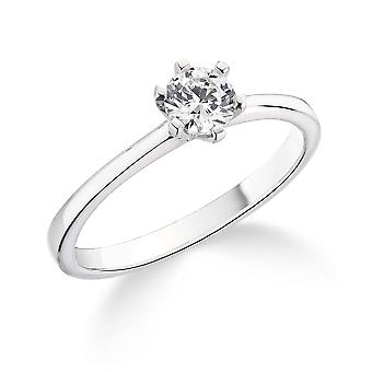 9K White Gold 6 Claw 0.35Ct Certified Solitaire Diamond Engagement Ring