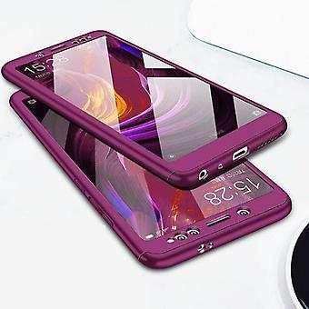 الاشياء المعتمدة® Xiaomi Redmi 9A تغطية كاملة - 360 ° حالة الجسم + حامي الشاشة خفف الزجاج الأرجواني