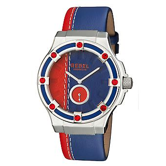 Rebel Women's Flatbush Navy/Red Dial Leather Watch