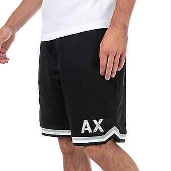 Mannen Armani Exchange Gestreepte Trim Mesh Athletic Sweatshorts in zwart
