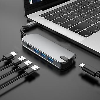 Basix T1905 5 In 1 Multi-function Type-C / USB-C HUB Expansion Dock (Grey)