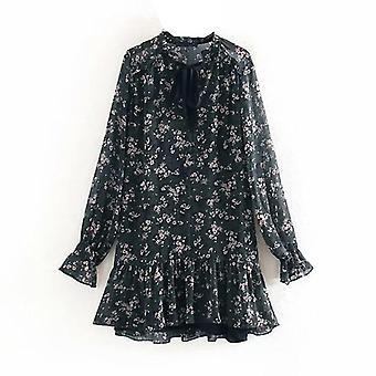 Femme Cravate Mini Floral Print Vintage Long Sleeve Casual Loose Dress