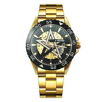Automatische Gold Watch Men Steel Strap Skeleton Mechanische Skull Horloges Top