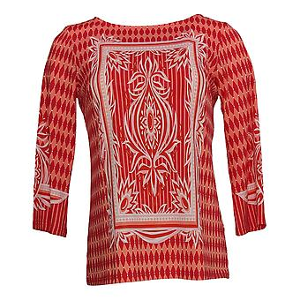 Bob Mackie Women's Top Print Knit 3/4 Sleeve Pullover Red A305611